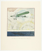view Louis Blériot passes the White Cliffs of Dover in May, 1909. Flights. Unforgettable Exploits of the Air. Drawings by Frank Lemon. Published privately by the Wright Aeronautical Corporation for Christmas 1928. No. 35. digital asset number 1