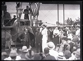 """view Curtiss Model H """"America"""" - Twin-Engined (H-1); Porte, John C.; Curtiss Model H """"America"""" (H-1) - Launch Ceremony; Hallett, George E. A.. [glass negative] digital asset number 1"""