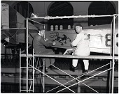 view NASM Artifact); Wilson, Lynn; Potter, Stanley; Museums, SI, NAM / NASM, Exhibits, A&I, Curtiss JN-4D (Rotunda); Museums, SI, NAM / NASM, Staff, Restoration. [photograph] digital asset number 1
