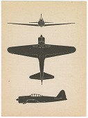 view Mitsubishi A6M3 Model 22 Reisen (Zero Fighter) Zeke (Type 0 Carrier Fighter 22); Education, Type Recognition, Flash Cards, Aircraft Recognition Training Cards, WWII, USA. [ephemera] digital asset number 1