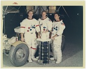 view Videodisc Imagery Collection, Videodisc 6A Contents digital asset: NASM 6A30196: Prime crew for the Apollo 15 lunar landing mission, March 1971. Left to right: David R. Scott, commander; Alfred M. Worden, command module pilot; and James B. Irwin, lunar module pilot. [NASA photo S-71-22401]