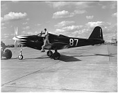 view Bell P-63A Kingcobra; Events, National Air Races (Cleveland, OH, 1920-1949). [photograph] digital asset number 1