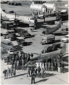 """view Yeager, Charles Elwood """"Chuck""""; Bell X-1A; Boeing B-29 Superfortress; North American F-86E Sabre. [photograph] digital asset number 1"""