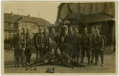 "view Albert and Willy Stupe World War I Photograph Album digital asset: ""Albert Stupe's army unit poses for a photograph in front of a base hall in Ohrdruf, Gotha, Germany, circa 1912."""