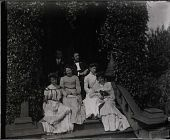 "view Group portrait on steps of Gates Mansion at Myers' Balloon Farm. From right: Elizabeth A. Myers, one of the ""Vassar Girls,"" unknown male, Mary B. Myers, unknown male, other ""Vassar Girl."" digital asset: Group portrait on steps of Gates Mansion at Myers' Balloon Farm. From right: Elizabeth A. Myers, one of the ""Vassar Girls,"" unknown male, Mary B. Myers, unknown male, other ""Vassar Girl."""