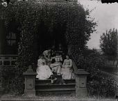 "view Group portrait, with dog, on steps of Gates Mansion at Myers' Balloon Farm. From right: Mary B. Myers, unknown male, one of the ""Vassar Girls,"" unknown male, Elizabeth A. Myers, the other ""Vassar Girl."" digital asset: Group portrait, with dog, on steps of Gates Mansion at Myers' Balloon Farm. From right: Mary B. Myers, unknown male, one of the ""Vassar Girls,"" unknown male, Elizabeth A. Myers, the other ""Vassar Girl."""