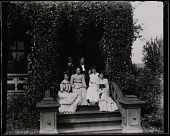 "view Group portrait on steps of Gates Mansion at Myers' Balloon Farm. From right: Elizabeth A. Myers, one of the ""Vassar Girls,"" unknown male, Mary B. Myers, unknown male, the other ""Vassar Girl."" digital asset: Group portrait on steps of Gates Mansion at Myers' Balloon Farm. From right: Elizabeth A. Myers, one of the ""Vassar Girls,"" unknown male, Mary B. Myers, unknown male, the other ""Vassar Girl."""