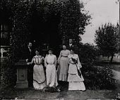 "view Standing group portrait in front of steps of Gates Mansion at Myers' Balloon Farm. From right: Elizabeth A. Myers, unknown male, Mary B. Myers, the two ""Vassar Girls,"" and unknown male. digital asset: Standing group portrait in front of steps of Gates Mansion at Myers' Balloon Farm. From right: Elizabeth A. Myers, unknown male, Mary B. Myers, the two ""Vassar Girls,"" and unknown male."