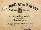 view Certificate of Appreciation from Military Order of the World Wars digital asset: Certificate of Appreciation from Military Order of the World Wars