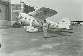 "view Post, Wiley Hardeman; Lockheed Model 5B Vega ""Winnie Mae,"" NR105W (2nd Post Vega); Air Transport, Airports, USA, New York (NY), Floyd Bennett Field. [photograph] digital asset number 1"