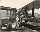 view Air Mail, USA, Aircraft, Equipment, Airports, Nebraska, Omaha (Fort Crook): Dayton Wright DH-4 Mailplane. [photograph] digital asset number 1
