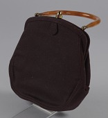 view Brown handbag with amber handle from Mae's Millinery Shop digital asset number 1