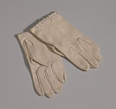view Pair of small taupe gloves with embroidery from Mae's Millinery Shop digital asset number 1