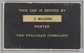 view Train car sign from the Pullman Company used by Thomas McCord digital asset number 1