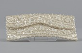 view Ivory satin clutch with sequins and beading from Mae's Millinery Shop digital asset number 1