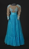 view Turquoise blue dress with nude bodice and blue details designed by Peter Davy digital asset number 1