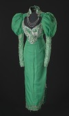 view Green dress with silver details and attached necklace designed by Peter Davy digital asset number 1