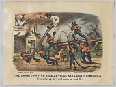 view <I>The Darktown Fire Brigade - Hook and Ladder Gymnastics: Brace her up dar! and cotch her on de fly!</I> digital asset number 1