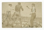 view Photographic postcard of James J. Jeffries staggering away from Jack Johnson digital asset number 1