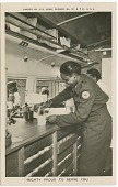 """view Picture postcard of a volunteer serving troops out of a Red Cross """"Clubmobile"""" digital asset number 1"""