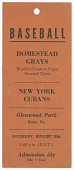 view Advertisement tag for the Homestead Grays vs. New York Cubans baseball game digital asset number 1