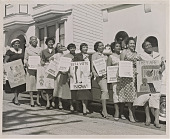 view Photograph of women activists with signs for voter registration digital asset number 1