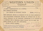 view Telegram from NCNW president Vivian Carter Mason to Frances Albrier digital asset number 1