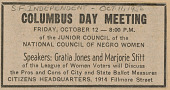 view Newspaper clipping announcing a NCNW Junior Council Columbus Day meeting digital asset number 1
