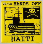 """view Pinback button with """"US / UN HANDS OFF HAITI"""" digital asset number 1"""