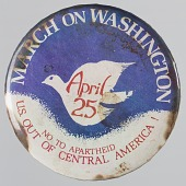 view Pinback button for national march against Apartheid and U.S. in Central America digital asset number 1