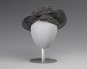 view Black and silver turban style hat from Mae's Millinery Shop digital asset number 1