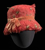 view Red feather lamp shade hat from Mae's Millinery Shop digital asset number 1