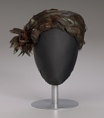 view Brown feathered pillbox hat from Mae's Millinery Shop digital asset number 1