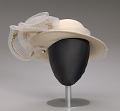 view Cream hat with white and gold embellishment from Mae's Millinery Shop digital asset number 1