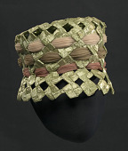 view Green raffia lamp shade hat from Mae's Millinery Shop digital asset number 1