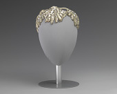 view Ivory and silver sequin and beaded cap from Mae's Millinery Shop digital asset number 1