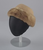 view Light brown toque hat with fur trim and a hat pin from Mae's Millinery Shop digital asset number 1
