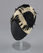view Cream cloche hat with black feathers from Mae's Millinery Shop digital asset number 1