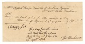 """view Receipt for """"the carriage of two familyes [sic] of negroes to Culpeper"""" digital asset number 1"""