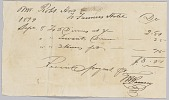 "view Receipt for ""dinners, servants dinners, and horses fed"" at the Farmers' Hotel digital asset number 1"