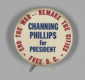 view Pinback button for Channing Phillips' presidential campaign digital asset number 1
