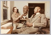 view Color photograph of Eubie Blake and artist Bob Walker during a modeling session digital asset number 1