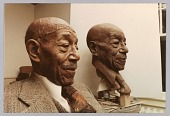 view Color photograph of Eubie Blake with bust portrait sculpture by Bob Walker digital asset number 1