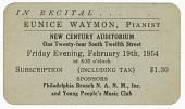 view Promotional card for a piano recital given by Eunice Waymon (Nina Simone) digital asset number 1