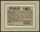 view Broadside for the sale of enslaved persons and other property of William Bland digital asset number 1
