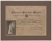 view Diploma issued to Regina Egertion Wright by the Colored Training School digital asset number 1