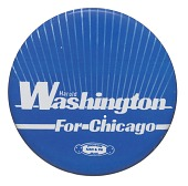 view Pinback button for Harold Washington mayoral campaign digital asset number 1