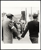 view <I>Bishop Jordan, AME Baptist Church, T. O. Jones, Head of Sanitation Workers, Walter Reuther, United Auto Workers, line up to lead protest march after death of Dr. Martin Luther King Jr., Memphis, TN, April 8, 1968</I> digital asset number 1