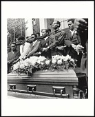 view <I>SCLC pallbearers stand over casket of Dr. Martin Luther King Jr., at Morehouse College on April 12, 1968, Atlanta, GA</I> digital asset number 1