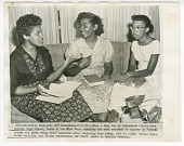 view Copy photo of Minnie Brown, Melba Pattillo, and Thelma Mothershed doing homework digital asset number 1
